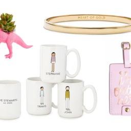 Dino planter, personalized coffee mugs, bangle, luggage tag